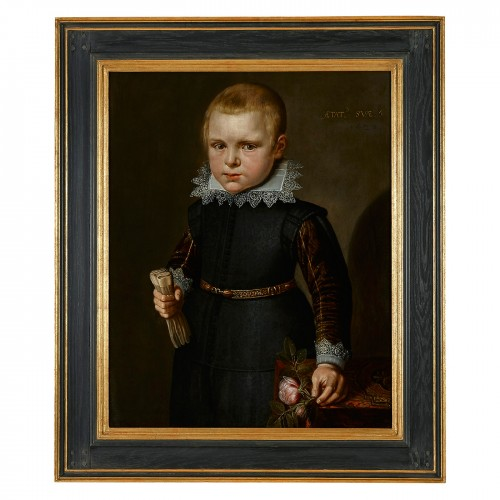 Paintings & Drawings  - Portrait of a Boy holding a Rose & A Portrait of a Boy holding a Goldfinch