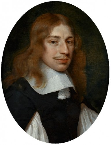 Isaack Luttichuys (1616 – 1673) - A Portrait of a young Man wearing a black Costume with a white Collar