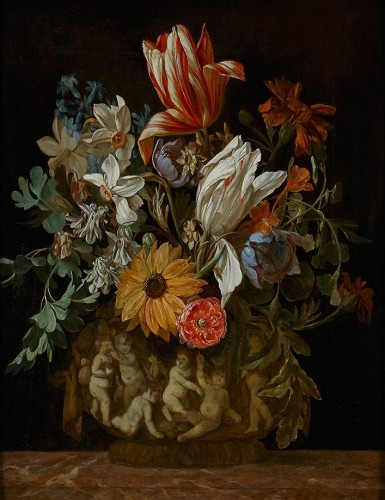 A Flower still life with Tulips and other Flowers in a Vase with Putti