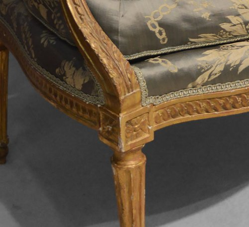 Seating  - Pair of Neoclassical period fauteuils of large dimension