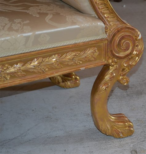 19th century - Pair of very fine, Regency, giltwood benches