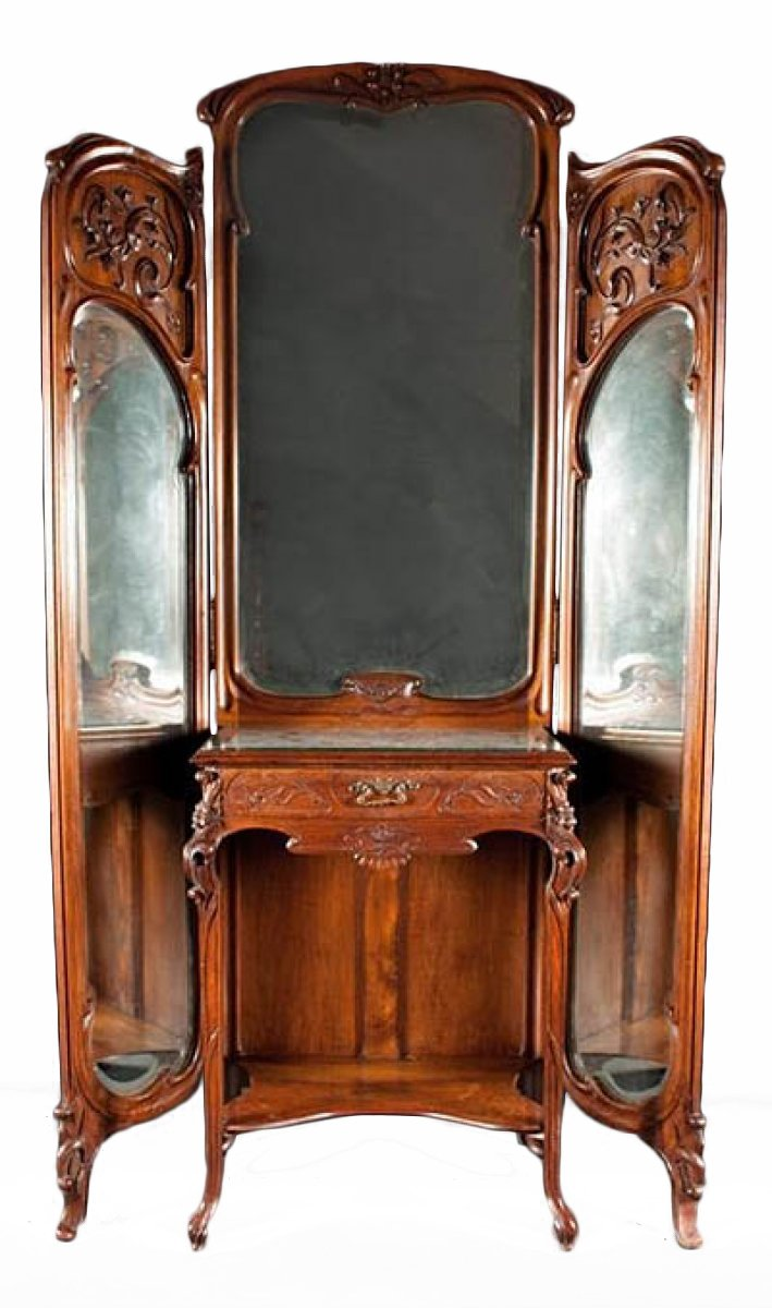 Very Fine French Art Nouveau Period Trifold Mirror With Vanity