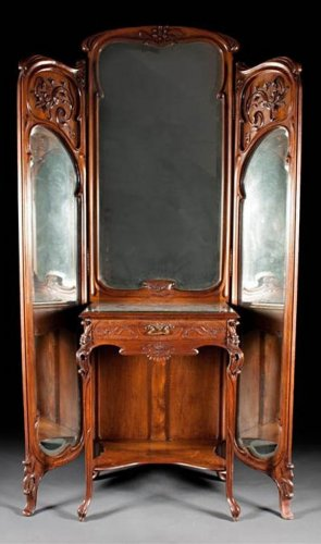 Very fine, French, Art Nouveau period, trifold mirror with vanity - Furniture Style Art nouveau