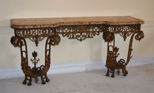 Pair of French, Louis XIV style, wrought-iron consoles