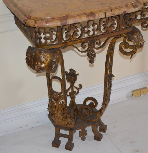Furniture  - Pair of French, Louis XIV style, wrought-iron consoles