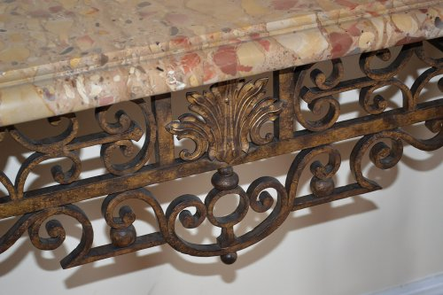 20th century - Pair of French, Louis XIV style, wrought-iron consoles