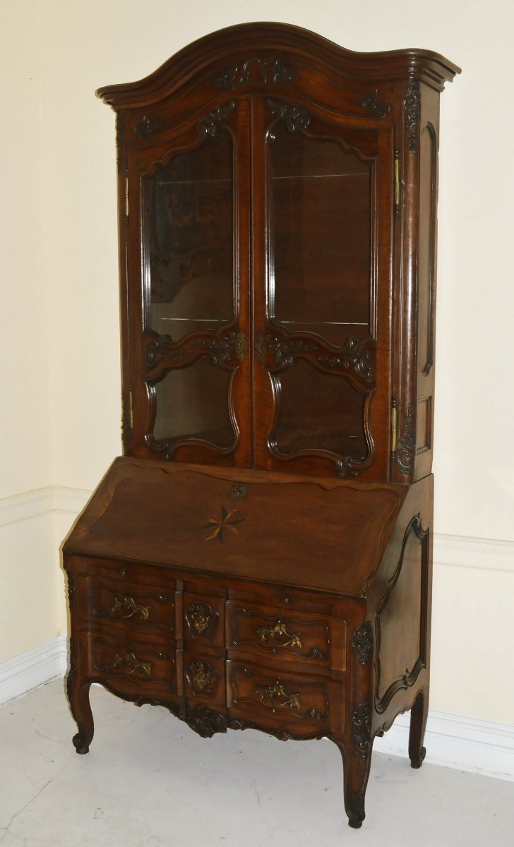 French Provincial Louis Xv Period Secretaire En Bibliotheque Furniture Style Regence