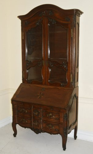 French provincial, Louis XV period secretaire en bibliotheque - Furniture Style French Regence