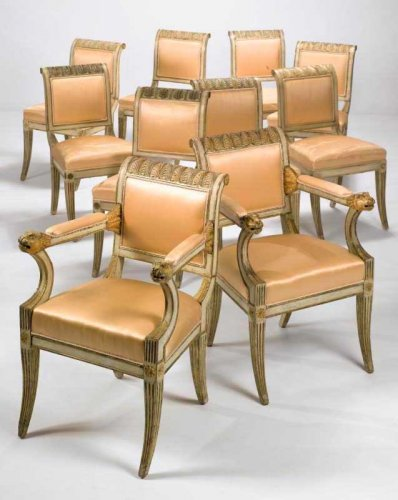 Set of ten Italian, Neoclassical period dining chairs