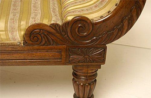 Seating  - William IV period, carved mahogany recamier