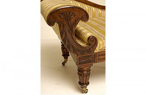 William IV period, carved mahogany recamier -