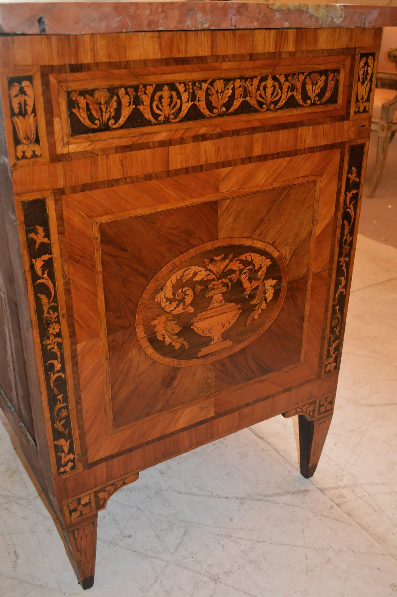 Northern Italian, Neo Classical Period, Marquetry Inlaid Commode   Furniture  Style Louis ...