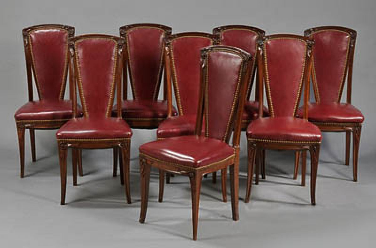 Chaise Style Art Nouveau set of eight french, art nouveau period tall-back dining