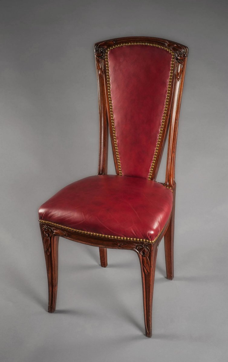 Set Of Eight French Art Nouveau Period Tall Back Dining Chairs