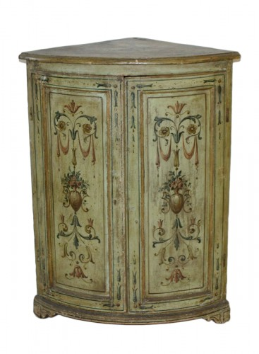 Pair of Italian, Neoclassical, painted corner cabinets