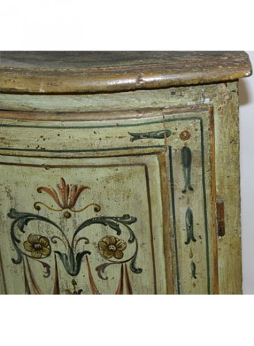 Pair of Italian, Neoclassical, painted corner cabinets -