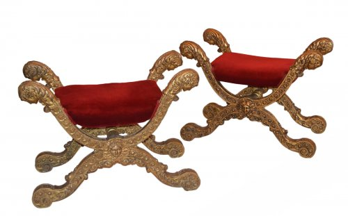 Pair of Italian, Empire period curule seats