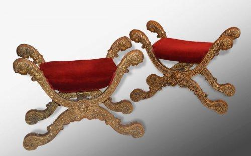 Antiquités - Pair of Italian, Empire period curule seats