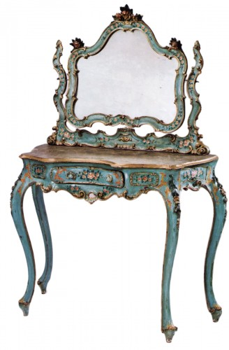 Venetian, Rococo style, painted and parcel-gilded coiffeuse