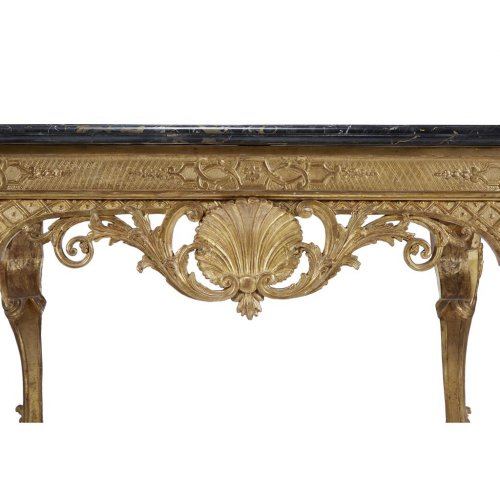 French Régence giltwood table with nero antico marble top - Furniture Style French Regence