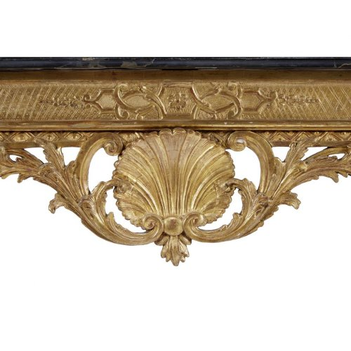 Furniture  - French Régence giltwood table with nero antico marble top