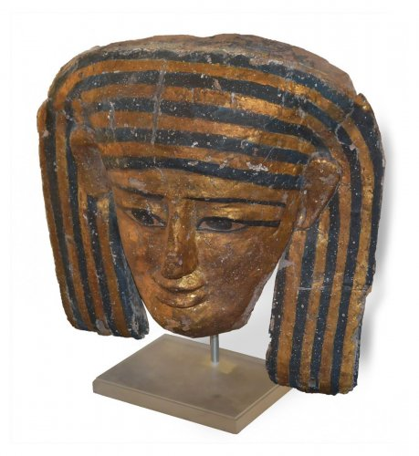 Egyptian polychrome and giltwood mummy mask