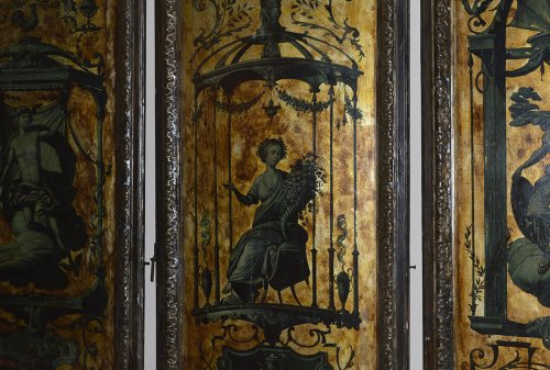 Architectural & Garden  - Italian, Regence Period, gilt and polychrome-painted six-panel screen