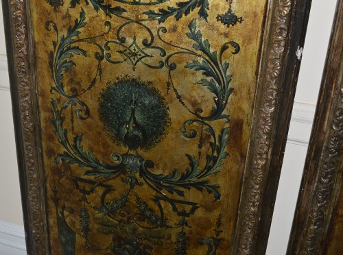 Italian, Regence Period, gilt and polychrome-painted six-panel screen - French Regence