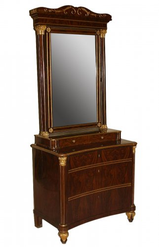 Spanish, Neoclassical, flame mahogany and parcel-gilt coiffeuse