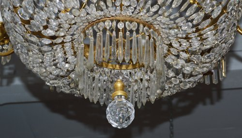 Lighting  - French, Charles X style, bronze d'ore and cut crystal chandelier