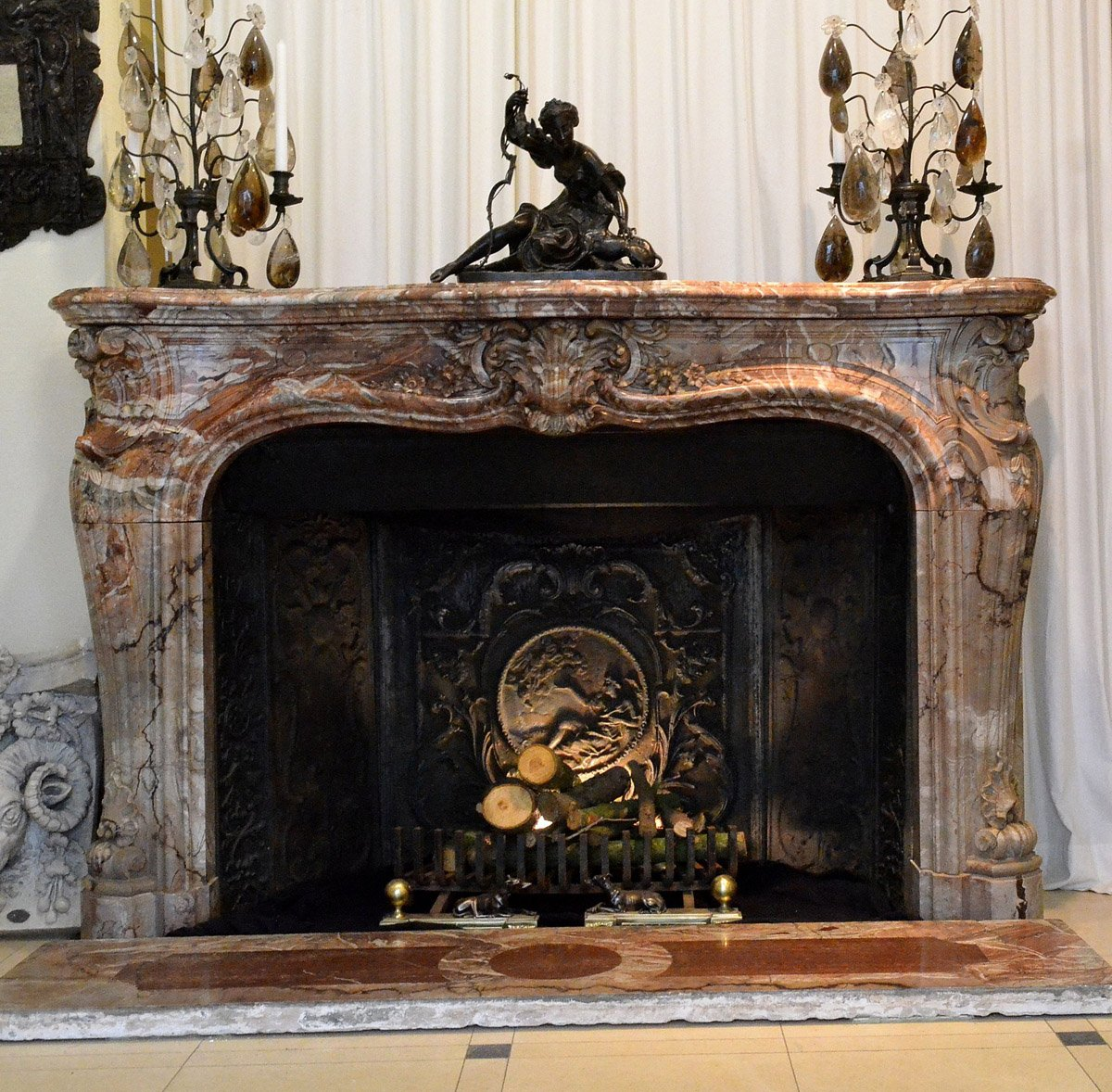 louis xv style marble fireplace surround ref 61719