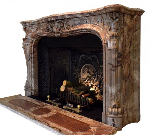 Louis XV style marble fireplace surround