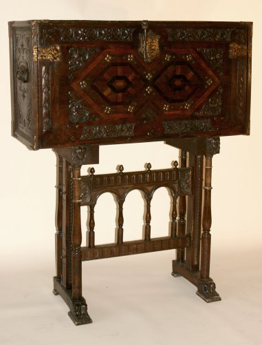 Spanish, iron-mounted, polychrome, parcel-gilt and bone-inlaid Vargueño - Furniture Style Louis XIV