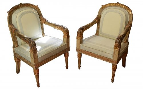 Pair of Northern Italian, Neoclassical period fauteuils