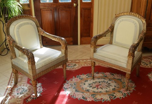 Pair of Northern Italian, Neoclassical period fauteuils - Seating Style Empire