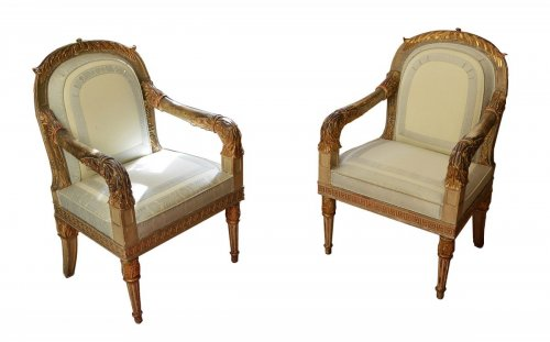 19th century - Pair of Northern Italian, Neoclassical period fauteuils