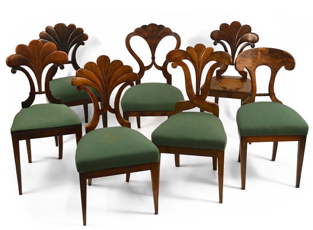 Assembled Set Of Seven, Austrian, Biedermeier Dining Chairs
