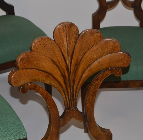 Assembled set of seven, Austrian, Biedermeier dining chairs - Seating Style Restauration - Charles X