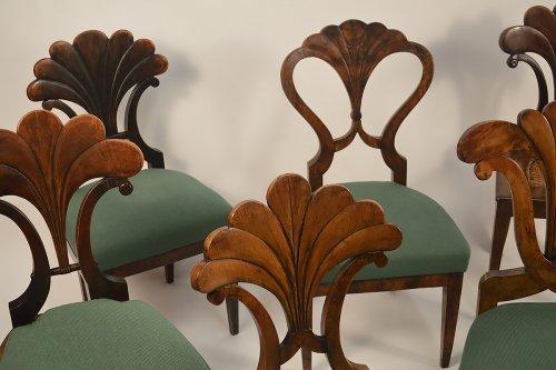 Seating  - Assembled set of seven, Austrian, Biedermeier dining chairs