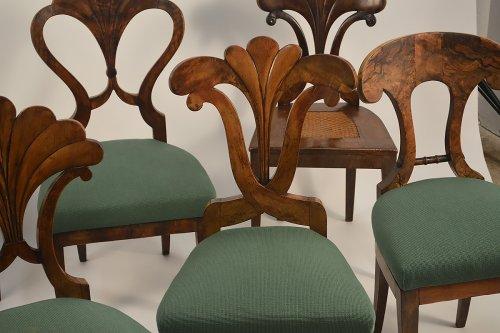 Assembled set of seven, Austrian, Biedermeier dining chairs -