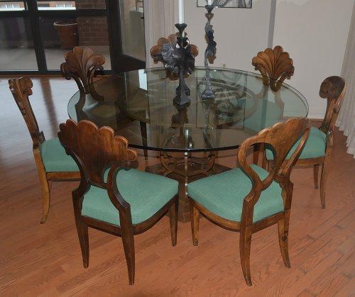 19th century - Assembled set of seven, Austrian, Biedermeier dining chairs