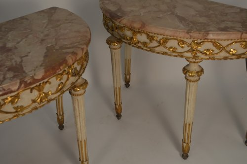 Furniture  - Pair of Italian, Neoclassical, painted and parcel-gilt demi-lune consoles