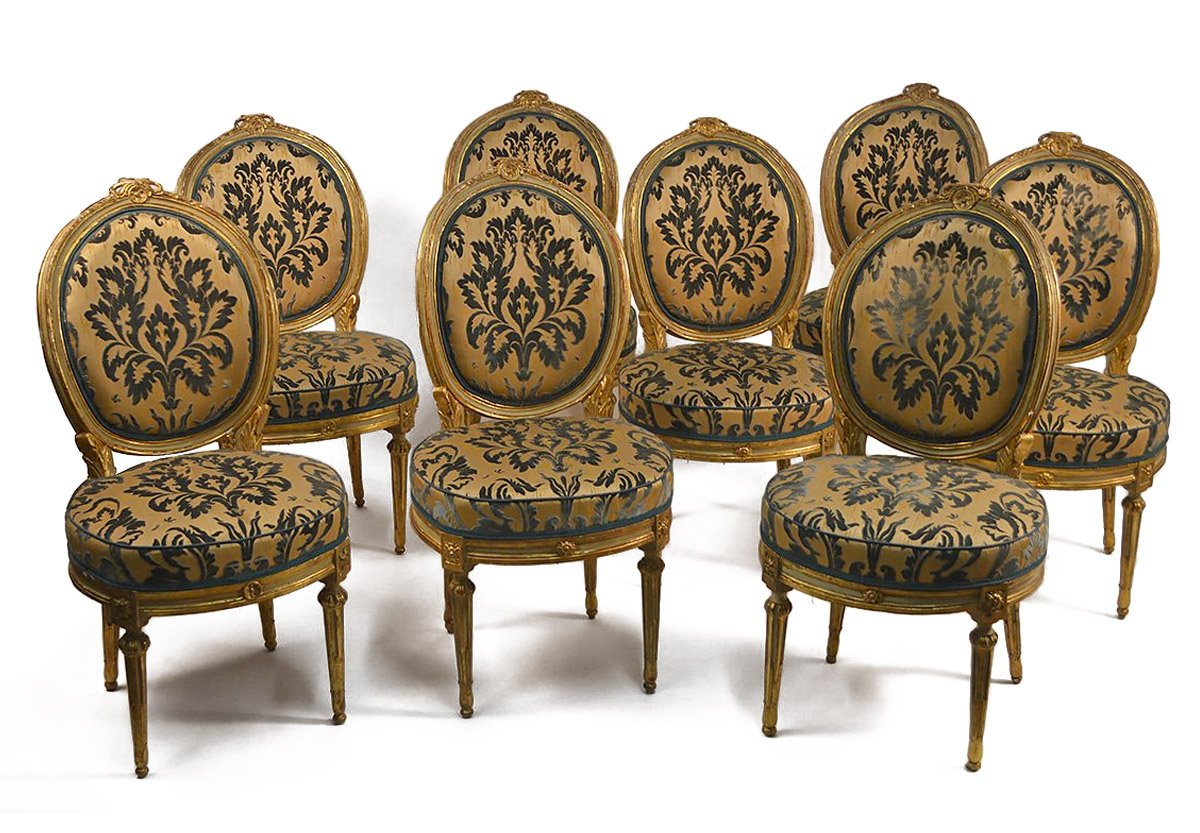 Set Of Eight, Northern Italian, Painted And Parcel Gilded Dining Chairs