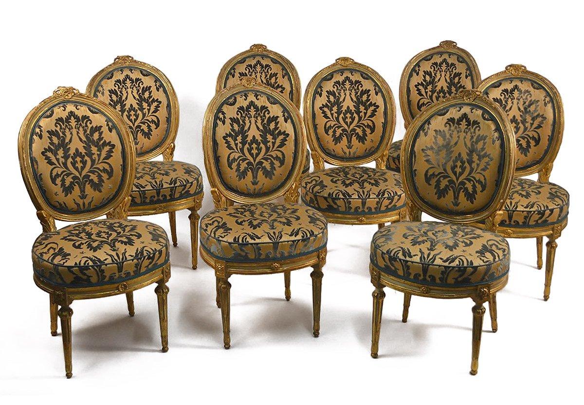 Serie de huit chaises Italiennes, d'époque Louis XVI