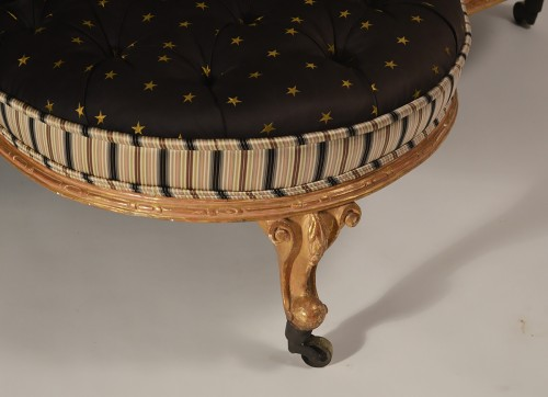 English, George IV period, giltwood and upholstered confidante - Seating Style Restauration - Charles X