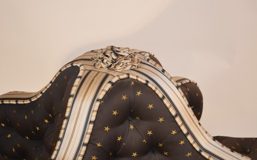 Seating  - English, George IV period, giltwood and upholstered confidante