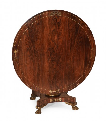 English Regency period, rosewood and brass-inlaid center table