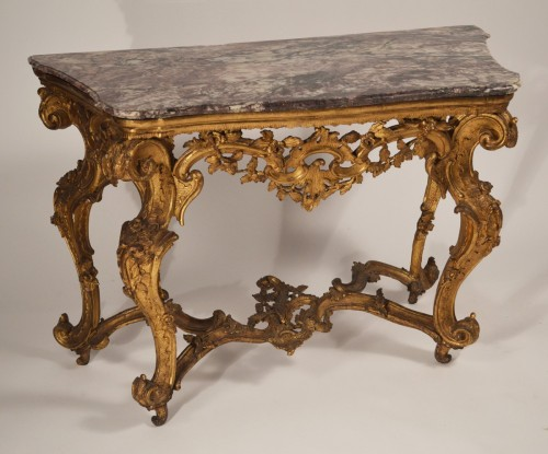 Louis XV - Genoese, Rococo period console table
