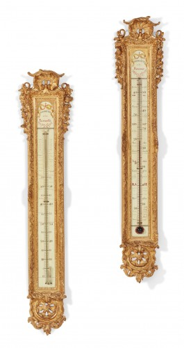French, Louis XV style, barometer and thermometer set of large dimensions