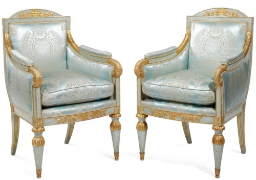 Pair of Northern Italian, Neoclassical period bergeres